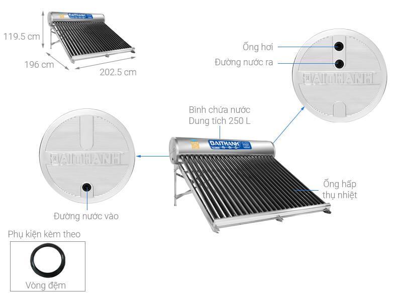 Máy nước nóng năng lượng mặt trời Đại Thành 250 lít Classic 58-24