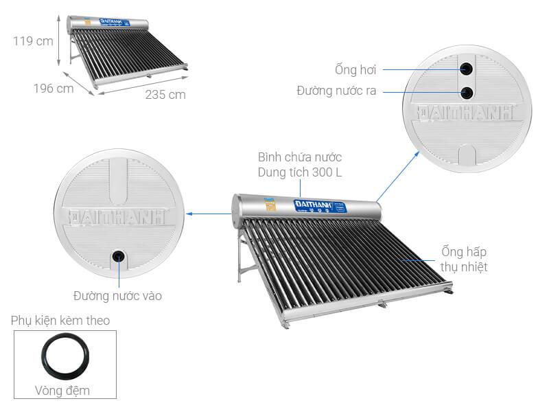 Máy nước nóng năng lượng mặt trời Đại Thành 300 lít Classic