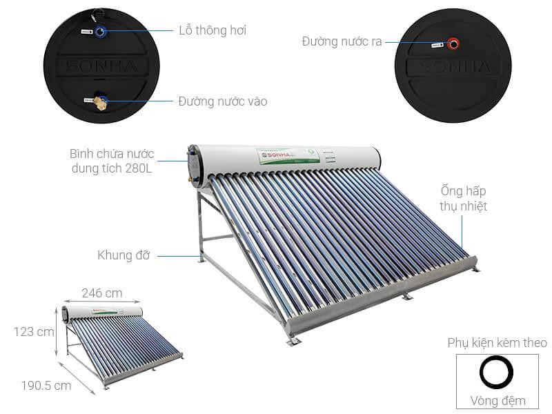 Máy nước nóng năng lượng mặt trời Sơn Hà 280 lít Eco
