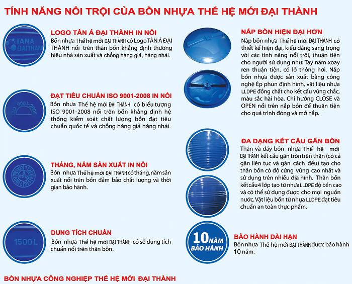 Bồn nước nhựa Đại Thành 10000 lít đứng THM