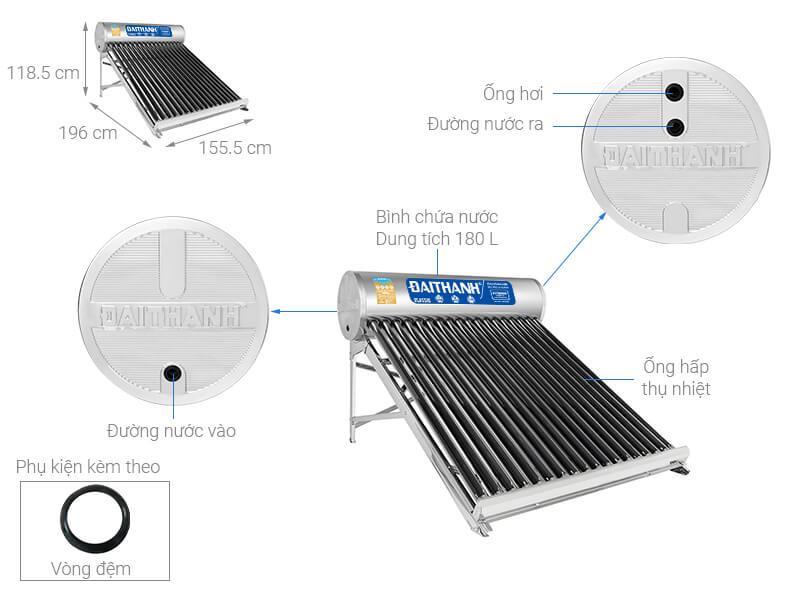 Máy nước nóng năng lượng mặt trời Đại Thành 215 lít Classic