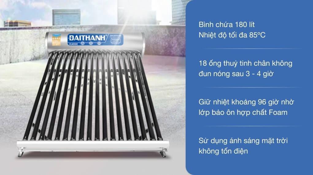 Máy nước nóng năng lượng mặt trời Đại Thành 180 lít Classic