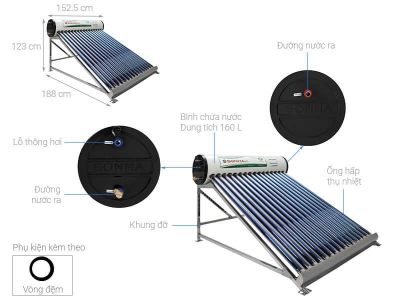 Máy nước nóng năng lượng mặt trời Sơn Hà 160 Lít Eco
