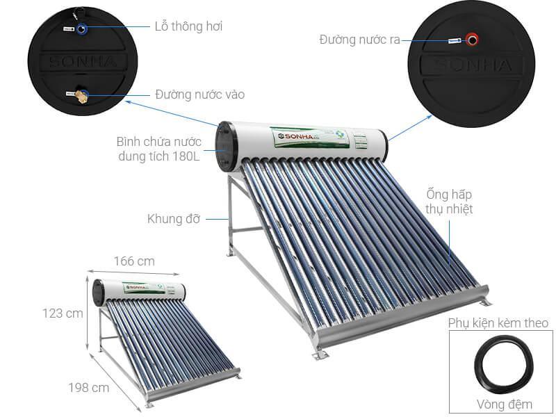 Máy nước nóng năng lượng mặt trời Sơn Hà 180 Lít Eco