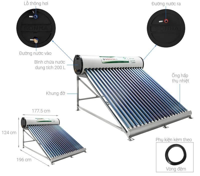Máy nước nóng năng lượng mặt trời Sơn Hà 200 lít Eco