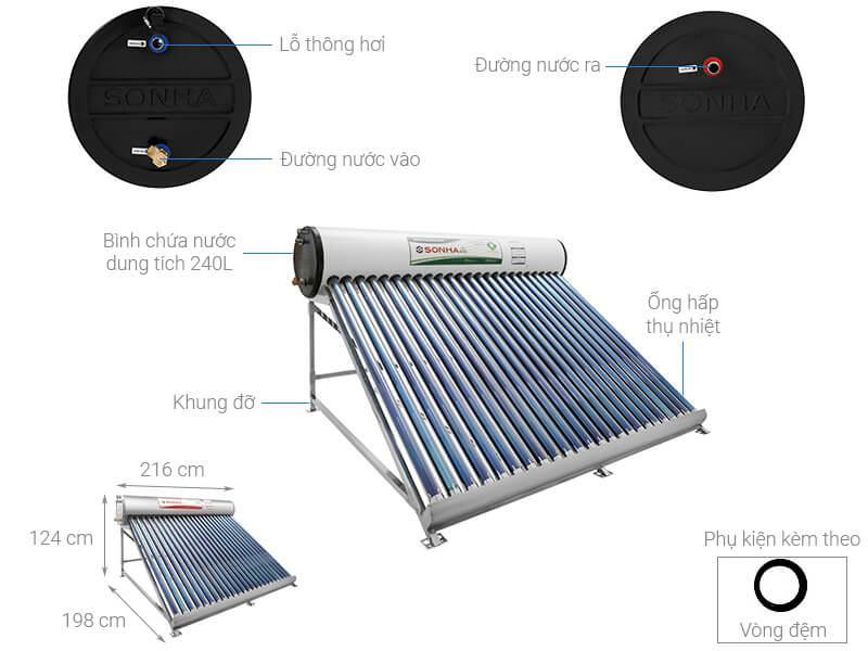 máy nước nóng năng lượng mặt trời Sơn Hà 240 lít Eco