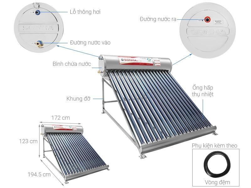 máy nước nóng năng lượng mặt trời Sơn Hà 120L Gold