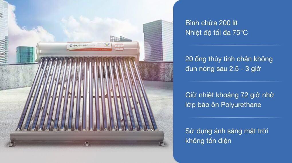 Máy nước nóng năng lượng mặt trời Sơn Hà 200 lít Gold