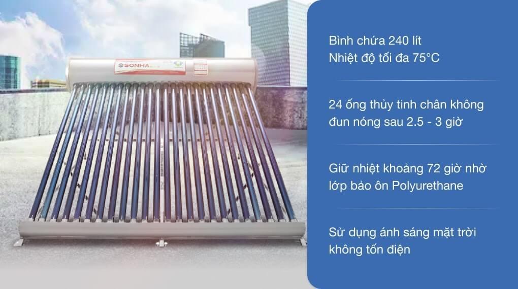 Máy nước nóng năng lượng mặt trời Sơn Hà 240 lít Gold