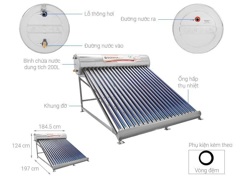 Máy nước nóng năng lượng mặt trời Sơn Hà 180 lít GOLD