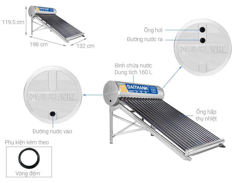 Máy nước nóng năng lượng mặt trời Đại Thành 160 lít Calassic