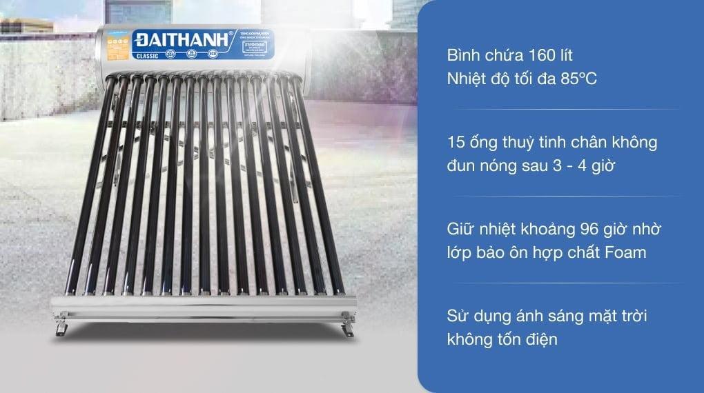 Máy nước nóng năng lượng mặt trời Đại Thành 160 lít Classic